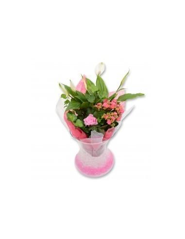 Plantarrangement in glass vase