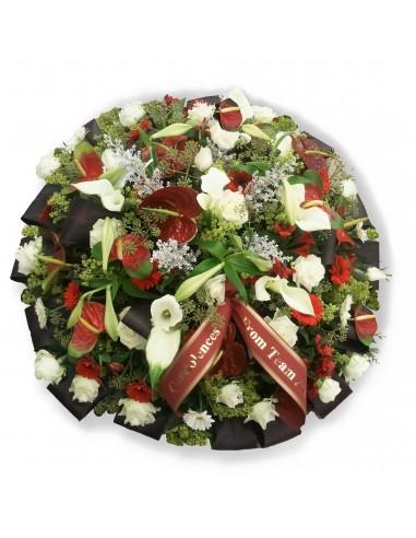 Round funeral arrangement
